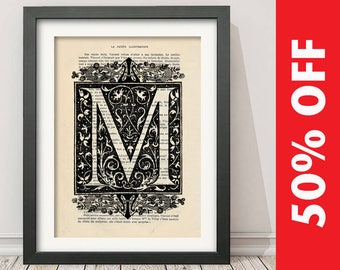 The Letter M Vintage French Alphabet - Mixed Media Art Dictionary Page Book Art Print - N013