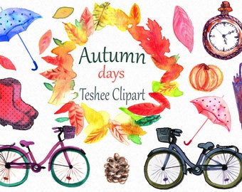Autumn clipart, Watercolor autumn clipart, Fall clipart, Bicycle clipart, Umbrella clipart, Autumn instant download, png autumn, fall png