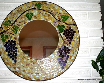 Grapevine Stained Glass Mosaic Mirror