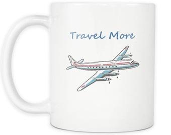 Travel More - Coffee Mug - Plane