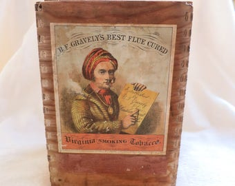 """Rare 1926 Wooden Vintage Tobacco Cigar Box """"B.F. Gravely's Best Flue Cured Virginia Smoking Tobacco"""""""