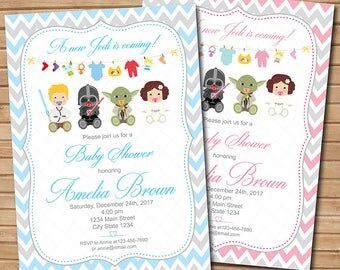 Star wars Baby Shower Invitation, Star wars Invite, Baby shower, Light blue, Pink, Grey, printable