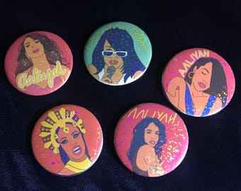 Aaliyah - Holographic Button Pins (5 Pack)