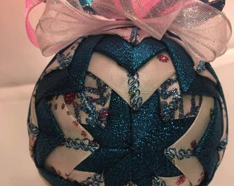 Teal, White and Pink ornament