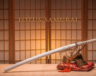 Lotus Samurai White Warrior Katana