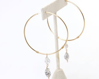 Herkimer Hoops - 14k Gold Filled Herkimer Diamond Hoop Earrings