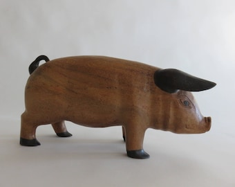 Antique Hand Carved Wooden Pig