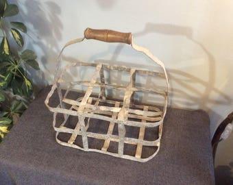 Vintage French 6 Bottle Carrier, Six Bottle Basket, Wine Basket, Vintage Bottle Basket