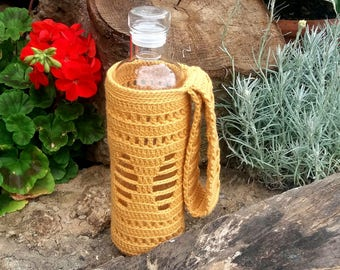Yellow Water Bottle Holder / Water bottle carrier / Drink Bottle Tote / Cozy / Ready to ship