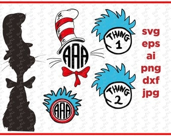 Cat in the hat svg, Dr seuss svg, dxf, Thing 1 Svg, Design/Silhouette Cameo/Cricut, Monogram Frame SVG Files for silhouette, svg for Cricut