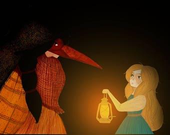 Baba Yaga and Vasilisa Meet. Russian Fairy Tale, A4 Print