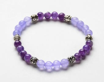 AMETHYST COLLECTION 6mm Healing Gemstone Bracelet - Yoga Jewelry -  Natural Stone - Gift Women