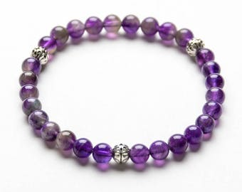 AMETHYST COLLECTION 6mm Gemstone Beaded Bracelet- Healing Stones - Yoga Bracelet- Inspired Jewelry- Gift Women