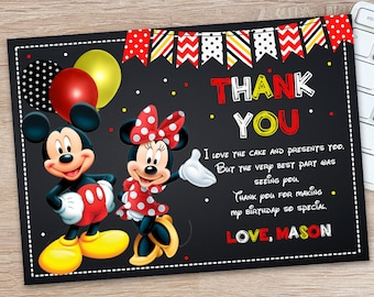 Minnie and Mickey Thank You Card - Mickey and Minnie Mouse Thank You Card - Red Minnie and Mickey Cards