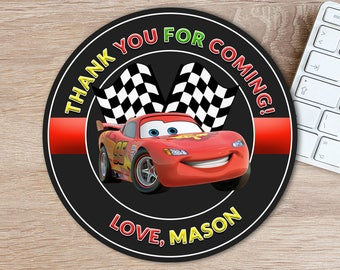 ON SALE 30%Disney Cars Favor Tags - Disney Cars Thank You Tags Stickers