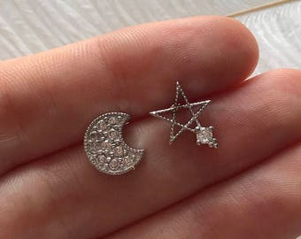 Sterling Silver Star and Moon