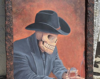 The skull with the cowboy hat – Claudio En La Cantina 12X18 acrylic paint on watercolor paper with paper mache boarder, 20 hours