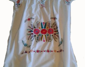 X-Large - White (Regular Length/Below Knee) Mexican Dress