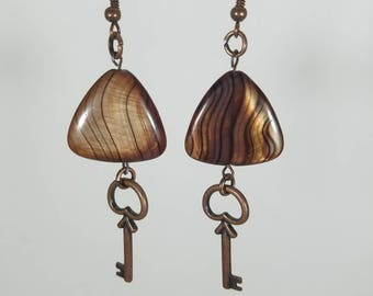 Brown triangle and copper key dangle earrings