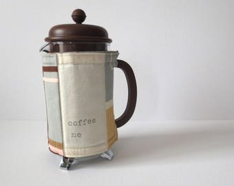 Cafetiere Warmer - French Press Coffee Maker Insulated Cosy Cozy; Hand SewnGrey Post War Modern Style Print Cotton w/ Button by Proxy Goods