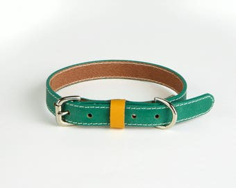 Forrest green handmade leather Dog collars