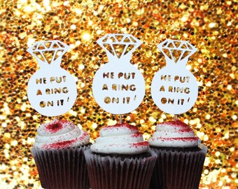 He put a ring on it | Cupcake Topper (12 ct.)
