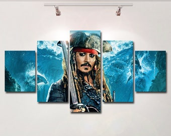 Pirates of the Caribbean poster canvas wall art print painting Jack Sparrow wall hanging home decor High Quality 5 piece set Birthday Gift