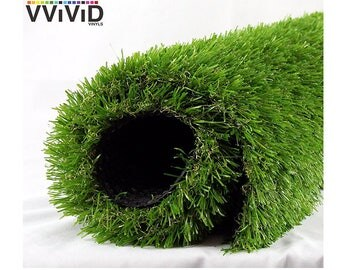 Artificial Grass Synthetic Faux Green Grass Outdoor & Indoor Weatherproof Vinyl Fake Turf Patio Mat Roll VViViD
