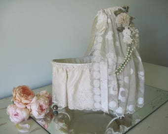 Antique French Doll Bassinet Cradle Bed w/ Silk, Lace and Floral Garland Crown c1900 Bed Canopy, Shabby Decor, Nordic Style