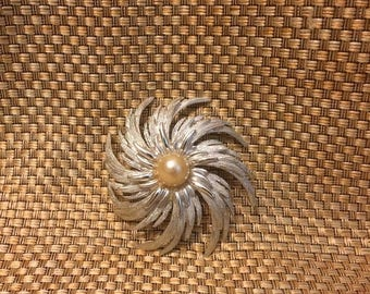 ON SALE Silver and peal Sarah Coventry brooch