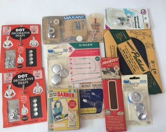 Vintage Sewing Notions Lot - Mender, Button Covers, Decorative Snaps, Patches and More!