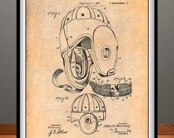 1927 Football Helmet Patent Print, Sport Bar Decor, Football Wall Art, Football Player, Football Coach Gift, Sports Decor, Football Gift
