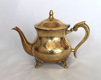 Vintage Brass Etched Teapot