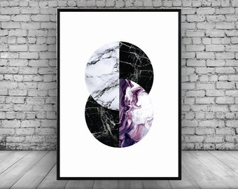Purple;Geometric;Circle;Marble;Wall Print;Home Decor;Wall Art; Poster