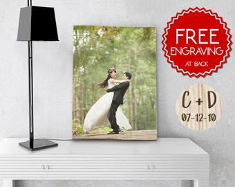 Personalized Engagement Gift, Wood Photo Print, Newlywed Gift, Engagement Gift for Couple, Wedding Anniversary, Custom Engagement Gift, Love
