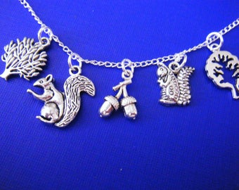 "Antiqued silver charms with 18"" silver plated chain necklace Squirrels in The Park"