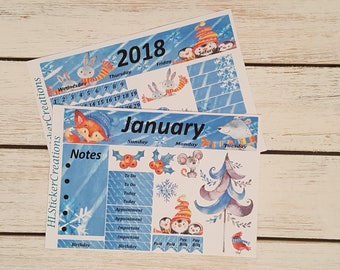 Happy Planner January Monthly Kit, Winter, Snow, Cold