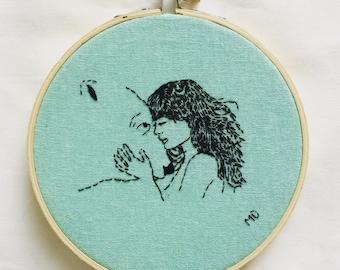Bear love contemporay embroidery