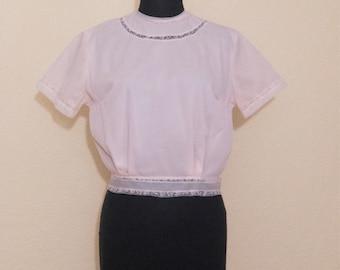 1950's pink sheer nylon blouse