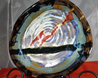 """12 inch Hand Thrown Stoneware Platter,""""Line of Demarkation"""",Mildly Distressed, Slightly Warped, Hangable Platter with vivic Reds and Blacks"""