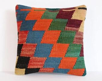 35 x 35 cm / 14'' x 14'' Turkish Kilim Pillow, Orange Pillow, Boho Pillow, Aztec Pillow, Cushion Cover, Sofa Pillow, Throw Pillow, Kilim