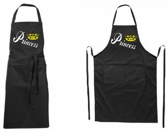 Full modern black apron Princess-for him-two pockets-quality printed-BBQ-for gift-father day-mother day-Birthday