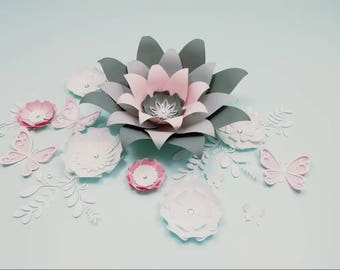 Paper flower wall decor. Large gray paper flower wall decor. Nursery flowers wall. Wedding backdrop. Baby shower backdrop. Girls room decor.