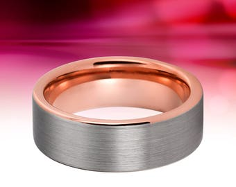 tungsten ring rose gold wedding band female male wedding ring engagement anniversary 18kt promise mens wedding