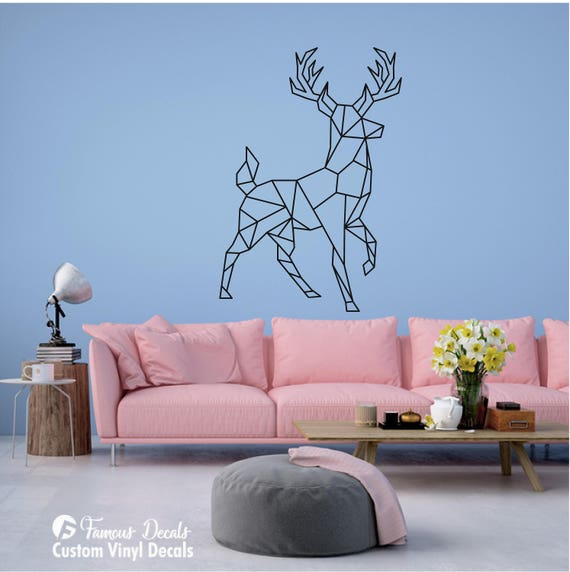 Geometric Deer Decal Geometric Buck Decal Geometric Buck - Custom vinyl wall decals deer
