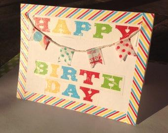 Rainbow Happy Birthday Banner Card // Handmade Greeting Cards