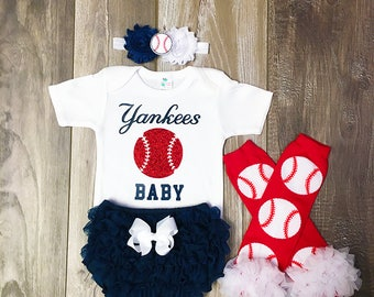baby girl new york yankees outfit - new york yankees baby girl outfit - new york yankees baby gift - baseball leg warmers - yankees baseball