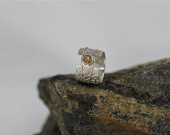 Sterling Silver 925 and 10K Yellow Gold Cuttlefish Cast Open Ring with Copper Rutilated Quartz, Modern, Unique