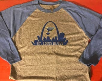 Stl Blues Hockey with skyline