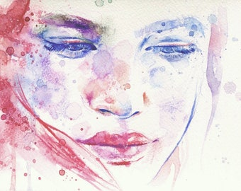 "Original colorful abstract watercolor pencils painting of woman face// ""In peace"", 13,5cm x 19,4cm"